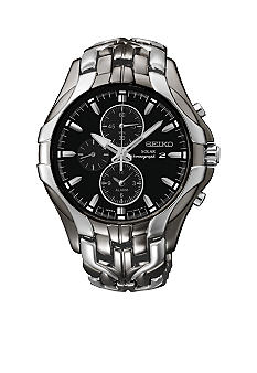 Seiko Men's 100 Meter Two Tone Solar Excelsior Alarm Chronograph Watch