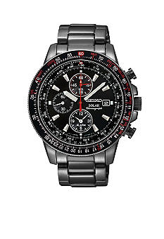 Seiko Men's 100 Meter Black Ion Finish Solar Aviation Chronograph