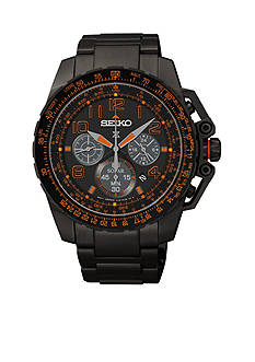 Seiko Men's Black Dial Solar Chronograph Watch