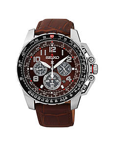 Seiko Men's Stainless Steel Silver-Tone Brown Solar Chronograph Watch