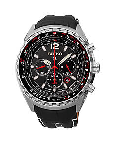 Seiko Men's Stainless Steel Black Dial Solar Chronograph Watch