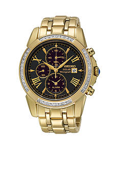 Seiko Men's Gold-Tone Diamond Bezel Chronograph