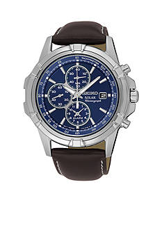 Seiko Men's Chronograph Blue Dial Leather Band Watch