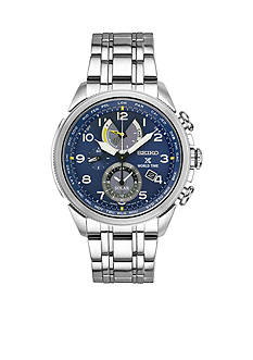 Seiko Men's Prospex World Time Solar Silver-Tone Blue Dial Watch