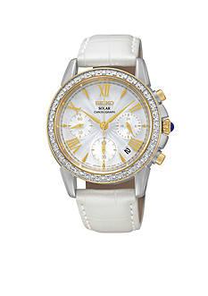 Seiko Women's Stainless Steel White Solar Chronograph Watch