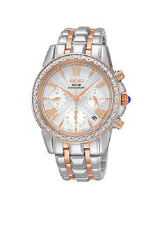Seiko Women's Leather Pink Gold-Tone and Silver-Tone White Dial Solar Chronograph Watch
