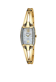Seiko Ladies 30 Meter Solar Tressia Gold Tone 22 Crystal Bangle Watch