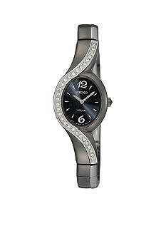 Seiko Ladies 30 Meter Black Ion Finish Solar Watch