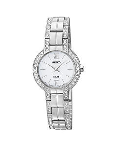 Ladies 30 Meter Stainless Steel Solar Modern Dress Watch with Crystals