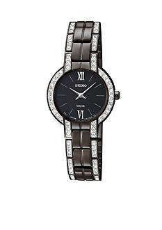 Seiko Ladies 30 Meter Black Ion Finish Solar Modern Dress Watch with Crystals