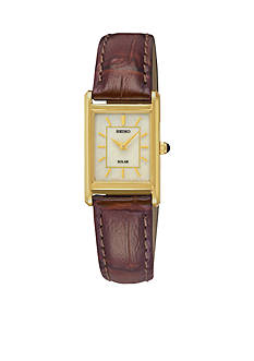 Seiko Women's Leather Gold-Tone Champagne Dial Solar Watch
