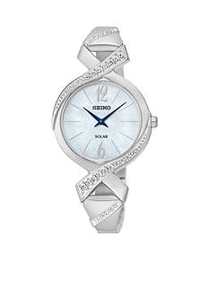 Seiko Women's Silver-Tone Solar Bangle Crystal Watch