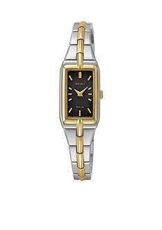 Seiko Two-Tone Black Dial Solar Dress Watch