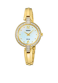 Seiko Women's Gold-Tone Solar Crystal Bezel Watch