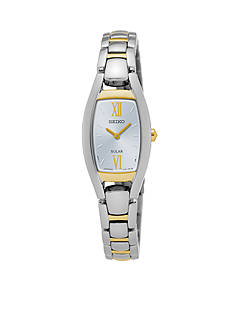Seiko Ladies Solar Two-Tone with White Dial Watch