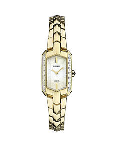 Seiko Women's Tressia Solar Gold-Tone with Diamond Accents Watch
