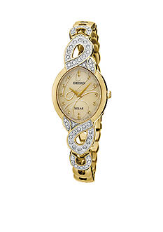 Seiko Women's Solar Gold-Tone with Swarovski Crystal Accents Watch