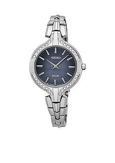 Seiko Women's Recraft Solar Silver-Tone with Swarovski Crystal Accents Watch