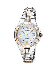 Seiko Women's 50 Meter Two Tone Solar Diamond Bezel Dress Watch