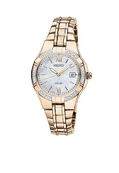Seiko Women's 50 Meter Gold Solar Diamond Bezel Dress Watch