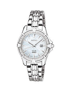 Seiko Solar Diamond Bezel Link Bracelet Watch