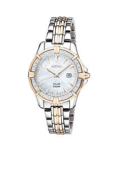 Seiko Women's 100 Meter Two Tone Solar Diamond Bezel Dress Watch