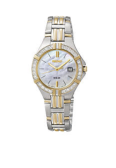 Seiko Ladies 30 Meter Two Tone Solar Sport Dress Watch with Crystals
