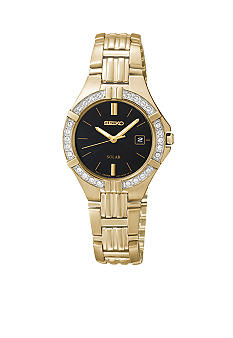 Seiko Ladies 30 Meter Gold Tone Solar Sporty Dress Watch