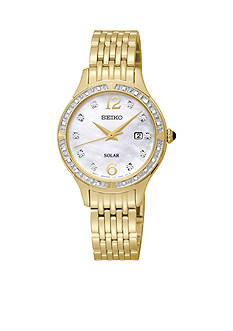 Seiko Women's 30 Meter Solar Gold Tone Diamond Bezel Classic Dress Watch