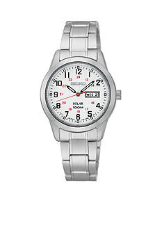 Seiko Women's Stainless Steel Silver-Tone White Dial Solar Watch