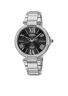 Seiko Women's Silver-Tone Black Dial Solar Watch