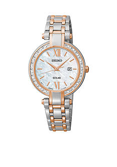 Seiko Women's Diamond Solar Two Tone Watch