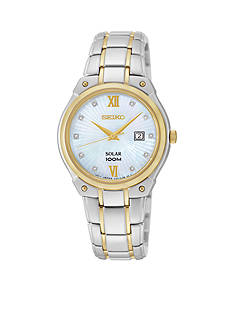 Seiko Two-Tone Diamond Dial Solar Watch
