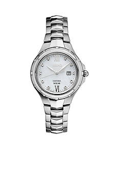 Seiko Women's Courtura Solar Silver-Tone with Diamond Accents Watch