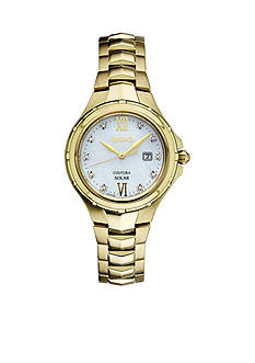 Seiko Women's Courtura Solar Gold-Tone with Diamond Accents Watch