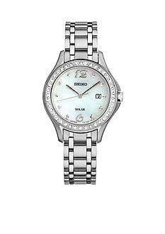 Seiko Women's Solar Silver-Tone Swarovski Crystal Accents Watch