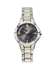 Seiko Women's Solar Two-Tone Black Dial Watch