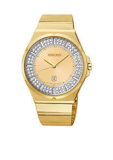 Seiko Women's 100 Meter Gold Tone Matrix with Crystals Watch