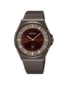 Seiko Women's Stainless Steel Brown Ion Finish Brown Dial Quartz Watch