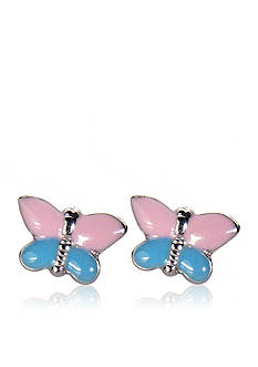 Belk & Co. Children's Sterling Silver Pink and Blue Butterfly Earrings