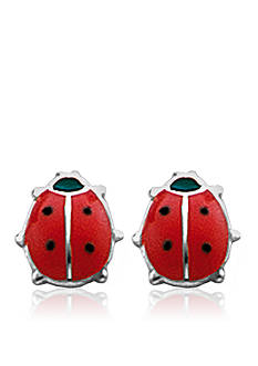 Belk & Co. Children's Sterling Silver Red and Black Ladybug Earrings