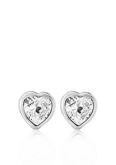 Belk & Co. Children's Sterling Silver Cubic Zirconia Heart Earrings