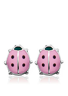 Belk & Co. Children's Sterling Silver Pink & Black Ladybug Earrings