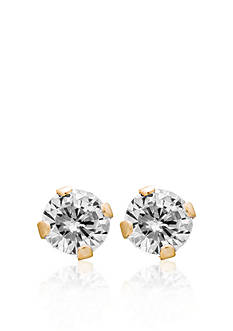 Belk & Co. Children's 14k Yellow Gold White Cubic Zirconia Stud Earrings