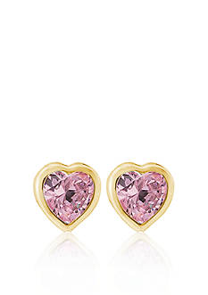 Belk & Co. Children's 14k Yellow Gold Pink Cubic Zirconia Heart Earrings