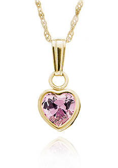 Belk & Co. Children's 14k Yellow Gold Pink Cubic Zirconia Heart Pendant
