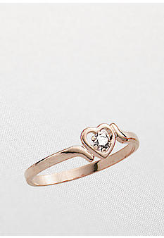 Belk & Co. Children's 14k Heart Shaped Ring With Genuine Diamond