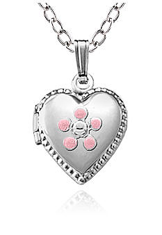 Belk & Co. Children's Sterling Silver Heart Locket With Pink Flower