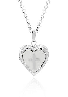 Belk & Co. Children's Sterling Silver Mother of Pearl Heart Locket with Cross Applique