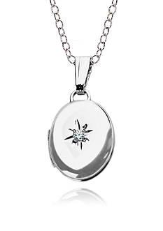 Belk & Co. Children's Sterling Silver and Diamond Oval Locket